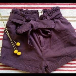 Plum paperbag shorts